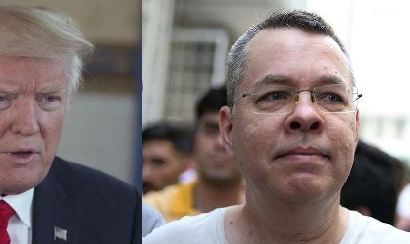 Donald Trump (esquerda) tem pedido repetidamente a libertação do pastor Andrew Brunson (direita), atualmente detido na Turquia. (Foto: CBN News)