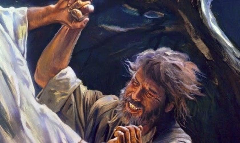 Pintura ilustra experiência sobrenatural de Jacó, lutando com o Anjo do Senhor para receber sua bênção. (Imagem: A Tenda na Rocha)