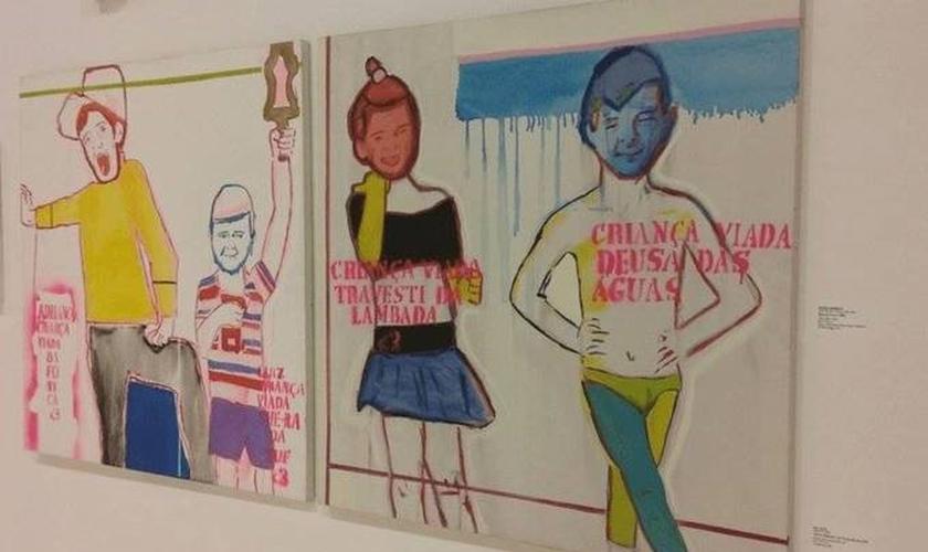Quadro expõe a homossexualização de crianças no Queermuseu. (Foto: Reprodução/Facebook)