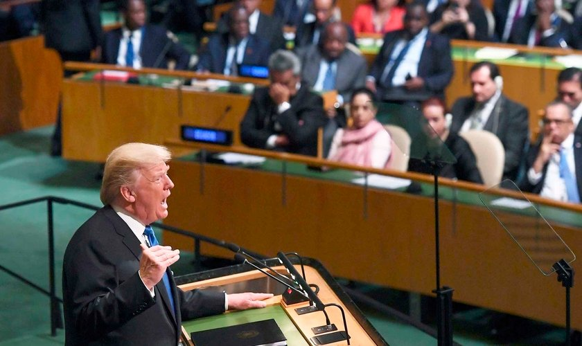 Presidente americano Donald Trump durante discurso na Assembleia Geral da ONU. (Foto: Jewel Samad/AFP/Getty Images)