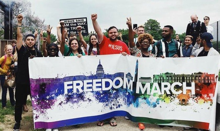 Ex-homossexuais reunidos na Marcha da Liberdade realizada em Washington, nos Estados Unidos. (Foto: Jeffrey McCall)