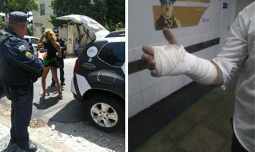 À direita, travesti protesta contra religiosos. À direita, vigilante da igreja mostra braço ferido. (Foto: Universal)
