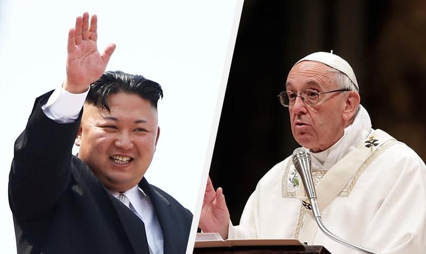 Kim Jong-un (à esquerda) convidou o papa Francisco (direita) a fazer uma visita à Coreia do Norte. (Foto: Reprodução)