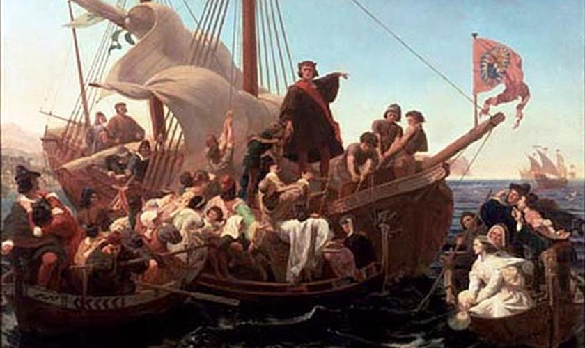 Cristóvão Colombo em navegação no Santa Maria em 1492. Pintura de Emanuel Leutze, em 1855.