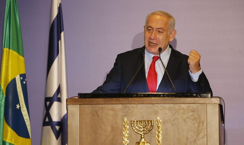 Primeiro-ministro de Israel, Benjamin Netanyahu, em encontro com a comunidade judaica e amigos cristãos de Israel, no Rio. (Foto: Tânia Rêgo/Agência Brasil)