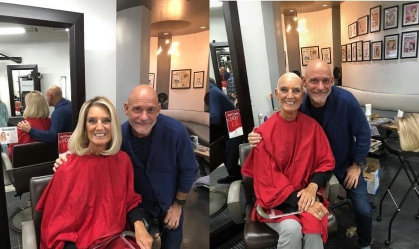 Após começar a perder o cabelo em razão das sessões de quimioterapia, Anne Graham Lotz decidiu raspá-lo no salão de seu amigo, Doug David. (Imagem: annegrahamlotz.org)
