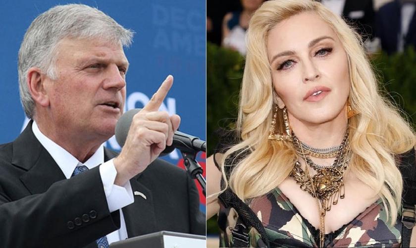 Franklin Graham (esquerda) respondeu às declarações de Madonna (direita) sobre 'Jesus apoiar o aborto'. (Imagem: Edição)