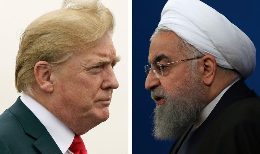Montagem com fotos dos presidentes dos EUA, Donald Trump, e do Irã, Hassan Rouhani. (Foto: AP Photo)