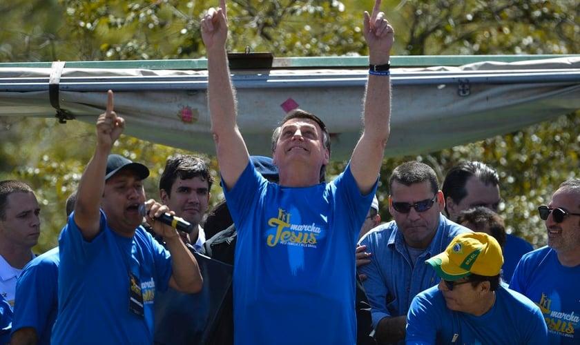 O presidente Jair Bolsonaro, participa da Marcha para Jesus e pela Família em Brasília. (Foto: Marcello Casal Jr./Agência Brasil)