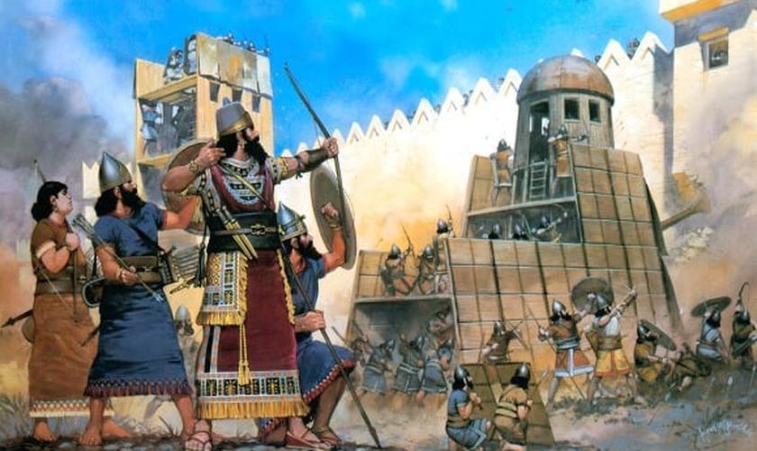 Pintura ilustra batalha na qual a Babilônia conquistou Jerusalém. (Imagem: explorandolafe)