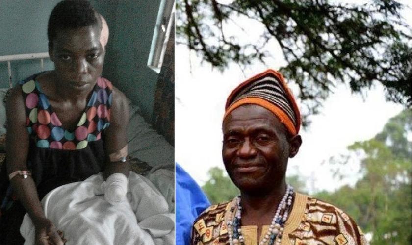 Eveline Fung (esquerda) ainda se recupera da amputação que sofreu no braço, após ter seu marido, Angus Fung (direita) assassinado por terroristas Fulani. (Imagem: Guiame / Edição)