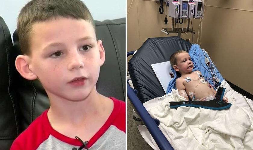 Konnor (à esquerda) e Rylan (à direita) que ficou internado por dois dias em um hospital. (Foto: Reprodução/WAFB News)