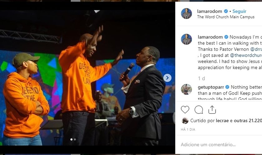 Lamar Odom se entregou a Jesus durante um culto The Word Church. (Foto: Instagram)