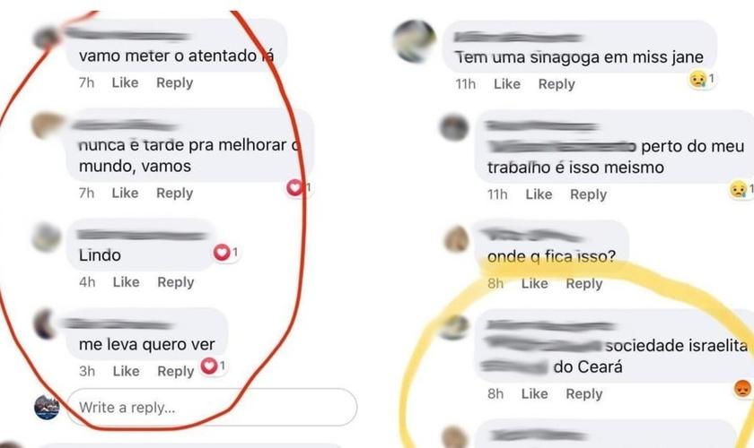Mensagens antissemitas foram trocadas entre estudantes no Ceará. (Imagem: Facebook)