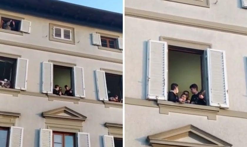 Vídeo mostra pessoas cantando em suas janelas na Itália. (Foto: Reprodução/Instagram)