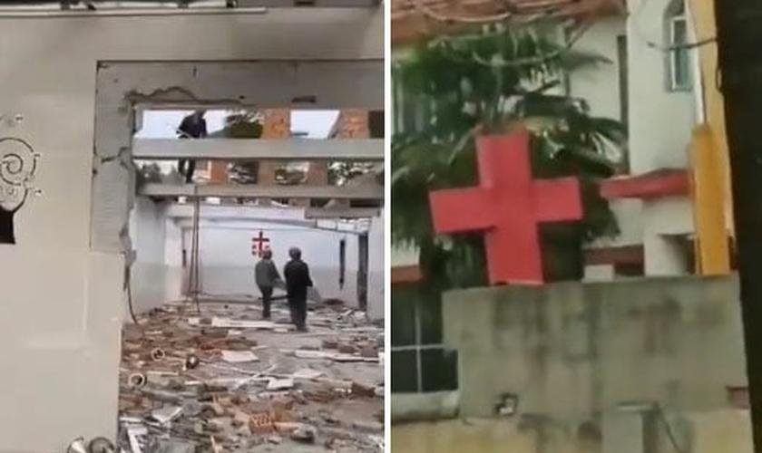 Autoridades chinesas destruíram cruzes e demoliram uma igreja durante quarentena. (Foto: Twitter)