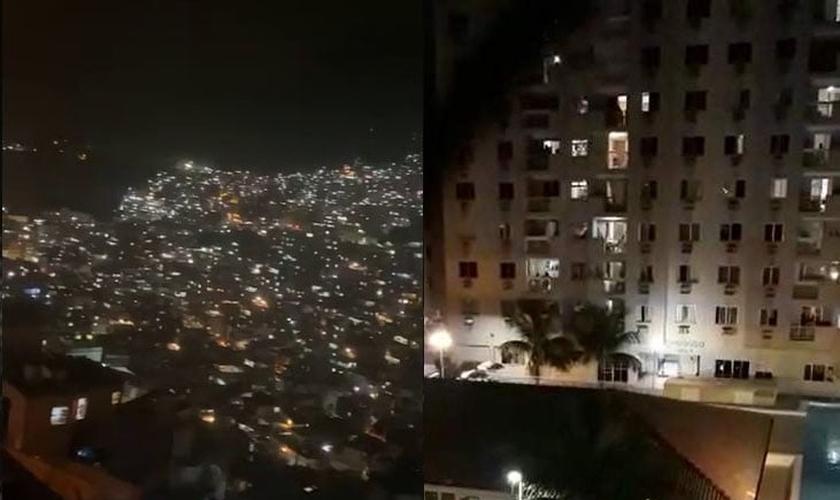 """Cristãos por todo o Brasil saíram para as janelas e sacadas para cantar a música """"Porque Ele Vive"""". (Foto: Reprodução)"""