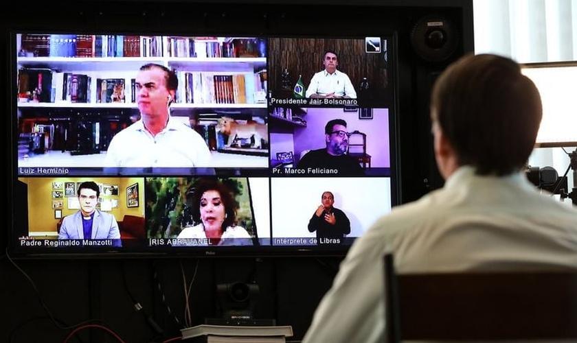 Presidente Jair Bolsonaro em videoconferência com lideranças religiosas na Páscoa. (Foto: Marcos Correa/PR)