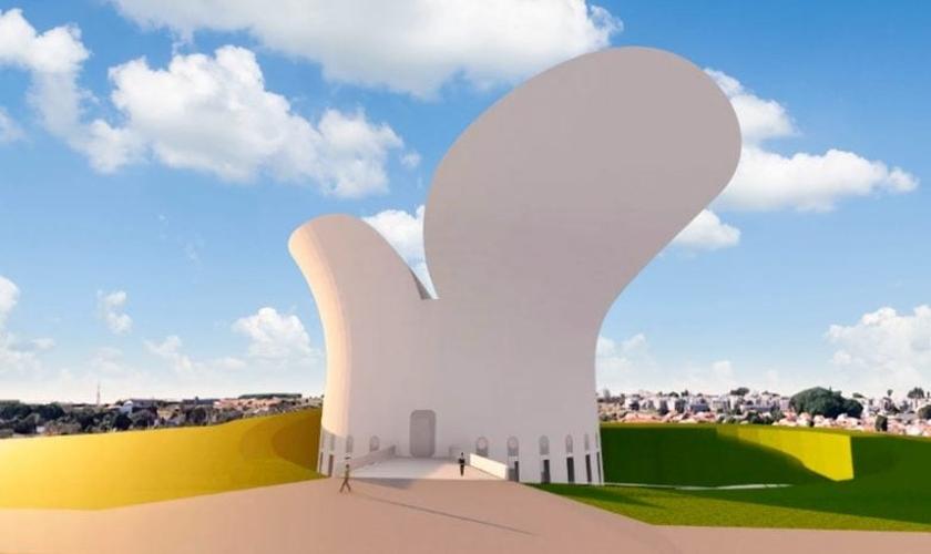 O projeto arquitetônico do Museu da Bíblia é inspirado em croquis do renomado arquiteto Oscar Niemeyer. (Imagem: Divulgação)