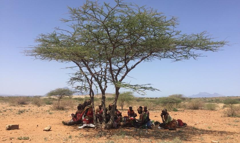 Grupo se reúne debaixo de árvore norte do Quênia, para ouvir Bíblia em áudio movida a energia solar. (Foto: World Mission)