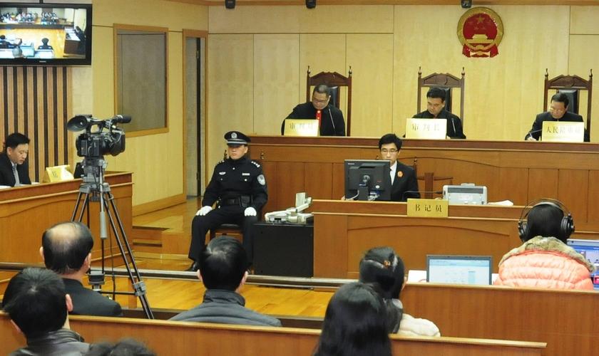 Vista interior de um tribunal chinês, semelhante ao que deve julgar Lai em dezembro. (Foto: Hongkou District Court)