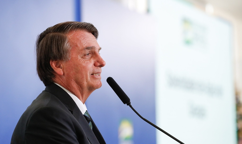 Presidente Jair Bolsonaro durante discurso no culto de Ação de Graças. (Foto: Alan Santos/PR)