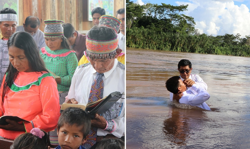 Missionários peruanos levaram o Evangelho à aldeia na região amazônica do país. (Foto: Facebook/MMM Contamana)