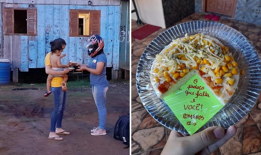 Jovens colocaram mensagem bíblica junto com pizza. (Foto: Maria Eduarda Piason)