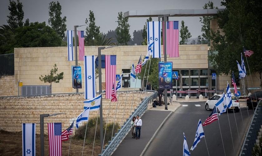 Local da embaixada dos EUA em Jerusalém antes de sua inauguração, em 13 de maio de 2018. (Foto: Yonatan Sindel/Flash90)