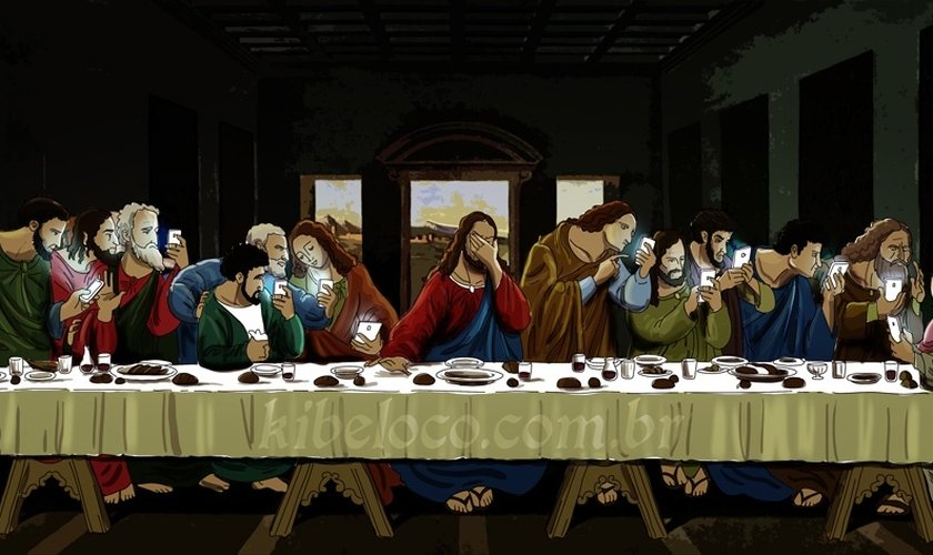 Na nova versão da pintura, os 12 discípulos parecem estar dispersos, apenas e olhando para seus smartphones e Jesus Cristo estaria decepcionado com a situação.