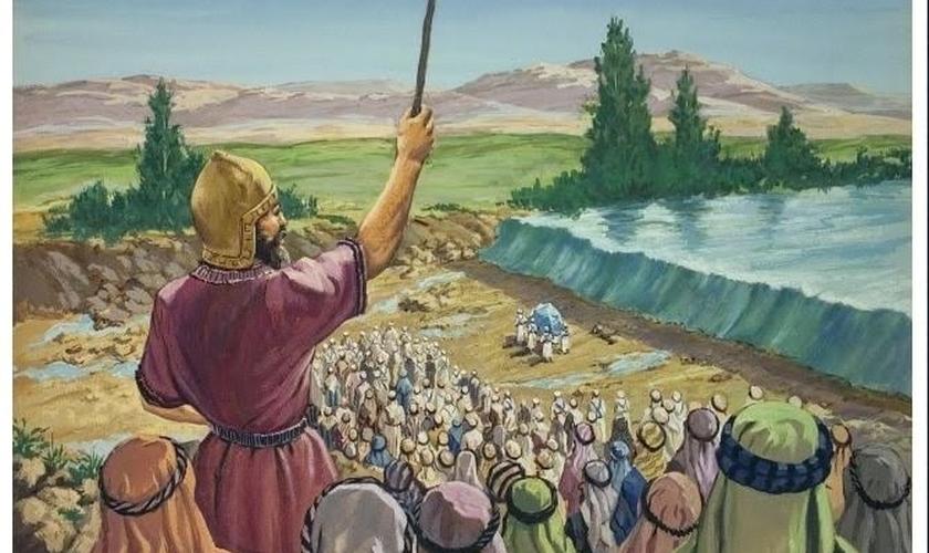 Josué liderando o povo no Jordão _ imagem ilustrativa