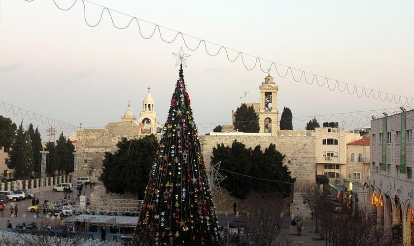 Tradicional árvore de natal iluminada para festividades em Belém.