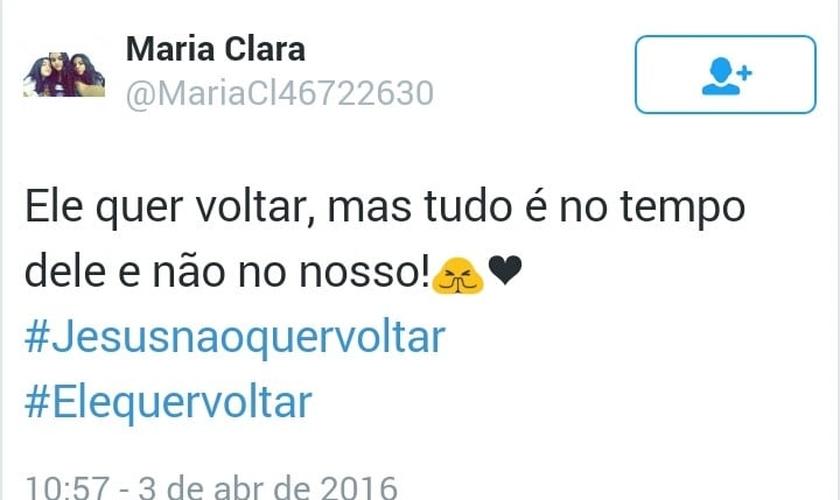 Internauta comenta e responde à hashtag criada no Twitter. (Imagem: Twitter)