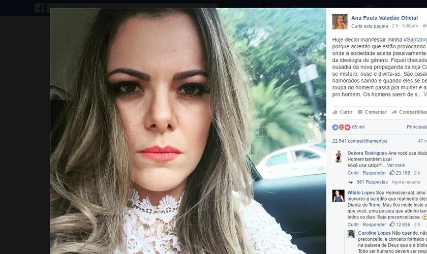 Entre críticas e elogios, em apenas duas horas, a postagem de Ana Paula Valadão já havia recebido 47 mil comentários e 22 mil compartilhamentos. (Imagem: Facebook)