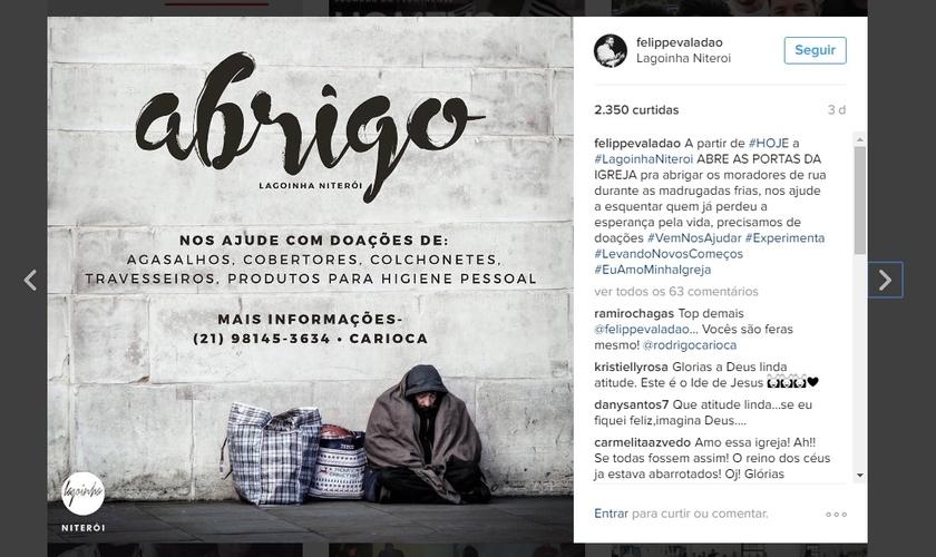 Postagem feita pelo pastor Felippe Valadão, informando que sua igreja está recebendo moradores de rua durante a noite. (Imagem: Instagram)