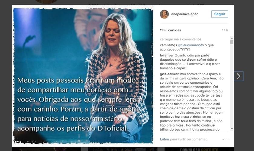 A decisão veio após ela ter recebido duras críticas de diversos usuários das mídias, principalmente por causa de duas postagens recentes. (Imagem: Instagram)
