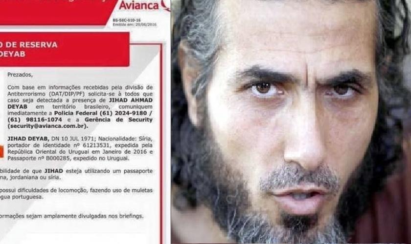Terrorista do Estado Islâmico, Jihad Ahmad Deyab, estaria no Brasil, segundo divisão antiterrorismo da Polícia Federal. (Foto: Extra)