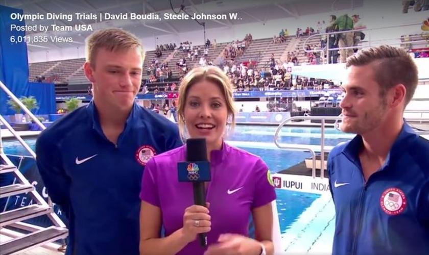 Steele Johnson (esquerda) e David Boudia (direita) conquistaram suas vagas na equipe norte-americana de saltos ornamentais para as olimpíadas de 2016, no RJ. (Imagem: ABC News)