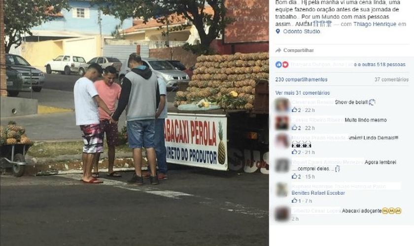 A jovem estava saindo da manicure quando parou no semáforo ao lado do caminhão onde ficam os abacaxis para venda. (Foto: Reprodução/Facebook).