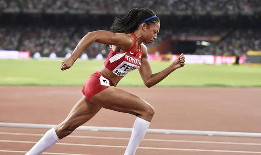 Com 30 anos de idade, Allyson Felix é atualmente uma das maratonistas mais experientes em atividade nos jogos olímpicos. (Foto: LA Times)