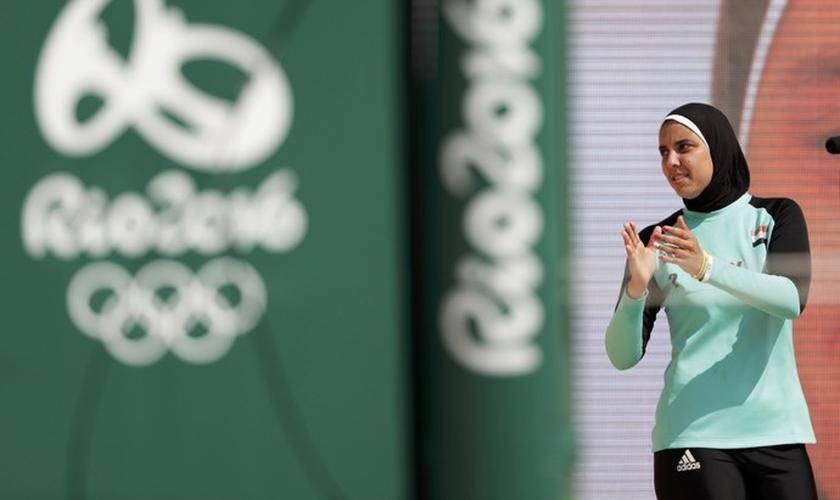 Doaa Elghobashy representou o Egito no Vôlei de Praia feminino. (Foto: Ricardo Moraes/Reuters)