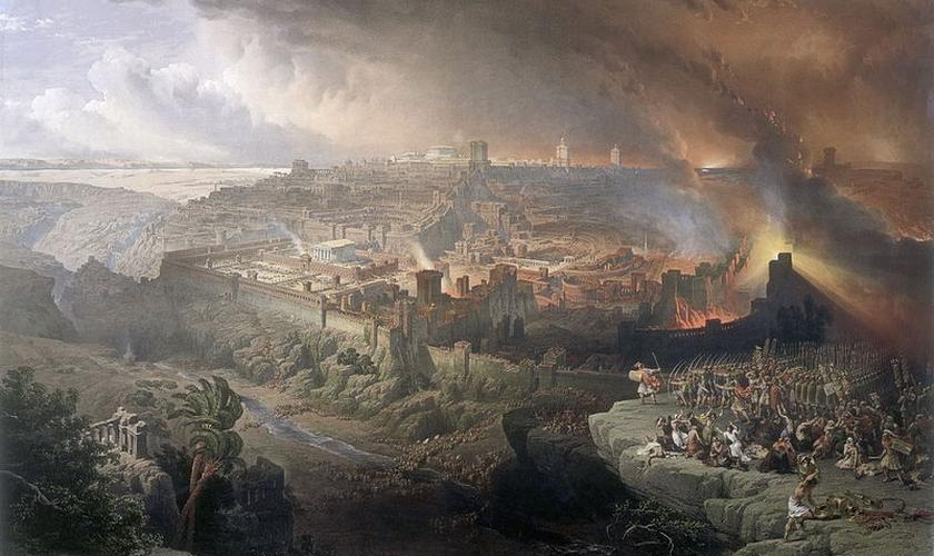 Pintura de David Roberts,  em 1850, sugere cena da invasão de Israel pelo exército romano. (Wikipedia/ Creative Commons)
