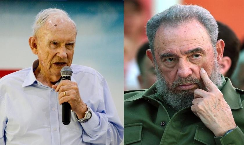 Pastor Russell Shedd (à esquerda) e o ditador Fidel Castro (à direita). (Imagem: Facebook)
