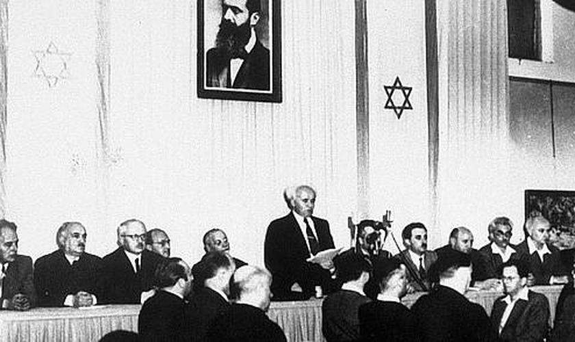 Histórica declaração do patriarca David Ben-Gurion na independência de Israel. (Foto: Reprodução).