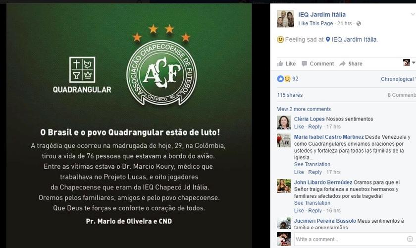 Pedido de oração, publicado na página oficial da IEQ Jd. Itália. (Imagem: Facebook)