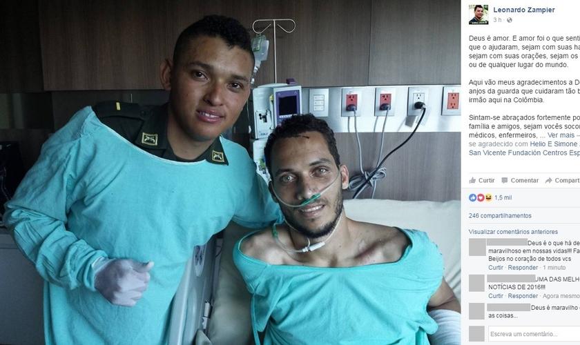 Postagem de Leonardo Zampier no Facebook, mostrando o policial Marlon Lengua (esquerda) e o zagueiro Neto (direita). (Imagem: Facebook)