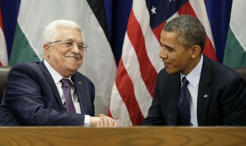 Barack Obama e o presidente da Autoridade Palestina, Mahmoud Abbas. (Foto: AP/Pablo Martinez Monsivais)