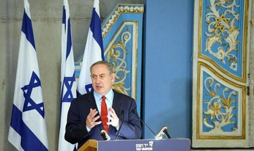 Benjamin Netanyahu em discurso no Memorial do Holocausto, em Jerusalém. (Foto: Amos Ben-Gershom/GPO)