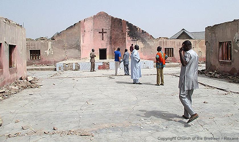 Igreja destruída, na Nigéria. (Foto: Church of the Brethren)