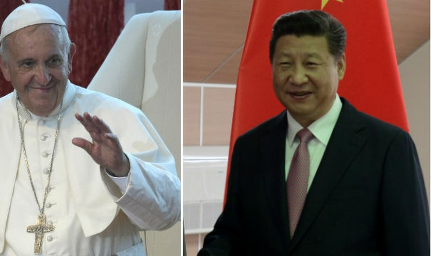 Papa Francisco (à esquerda) e presidente da China, Xi Jinping (à direita). (Foto: Ej Insight)